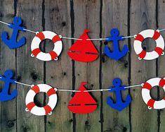 Guirnalda de náutica, Náutica Náutica, Banner Baby Shower, cumpleaños náutico, ancla, velero, salvavidas, Foto Prop, decoración náutica