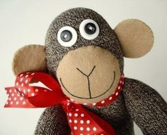 Toy Sewing Pattern for Sock Animals Monkey by preciouspatterns