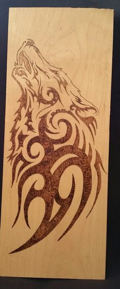 Tribal Wolf Wood Burning on Maple by TooOldCrows on Etsy