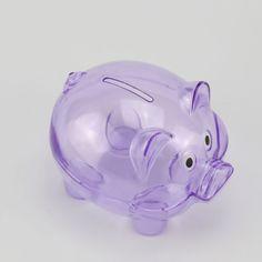 Plastic Purple Transparent Coin Pig Colecttion Cash Saving Box Piggy Money Bank