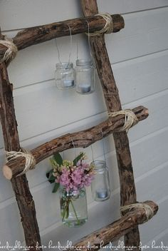 Log ladder and hanging jar decor