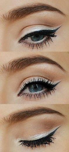 Eye makeup for blue eyes; thick silver line above black liner