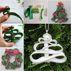 Wonderful DIY Zipper Christmas Tree Ornaments | WonderfulDIY.com