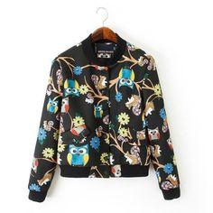470a8f4c3 2018 Spring Coat Women Owl Print Crop Jacket Coat Standard Collar  Outwearliilgal
