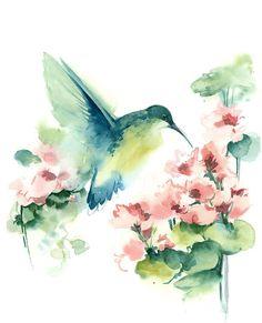Flying Hummingbird Original Watercolor Painting Bird