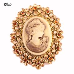 Fiona Vintage Rhinestone Brooch Pins for women wedding and party dress Christmas Elegant Beauty Cameo crystal brooch hijab pins