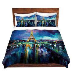 Parisian Night Eiffel Tower Duvet Cover Set Eiffel Tower Duvet Duvet Cover Sets Paris Themed Bedding