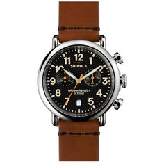 Shinola 'The Runwell Chrono' Leather Strap Watch, 41mm ($750) ❤ liked on Polyvore featuring jewelry, watches, handcrafted jewelry, steel watches, leather strap watches, steel jewelry and american jewelry