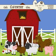 Green Acres  Cute Farm Clip Art  Scrapbooking  by chiccountrygirl, $5.00