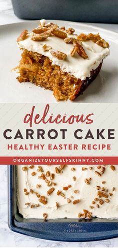 Delicious Carrot Cake Recipe | Healthy Baking Recipes - Carrots, cinnamon, cream cheese frosting- what more can you ask for out of a dessert? This Healthy Carrot Cake is the perfect sweet treat to enjoy this upcoming Easter (or any time honestly) and still stay on track with your health goals! Organize Yourself Skinny | Healthy Dessert Recipes | Healthy Family Recipes | Healthy Treats | Healthy Snack Recipes | Healthy Party Recipes Healthy Desserts For Kids, Quick Easy Desserts, Healthy Dessert Recipes, Healthy Baking, Healthy Treats, Snack Recipes, Party Recipes, Easter Recipes, Summer Recipes