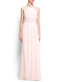 Long elegant ( blush?) Bridesmaid dress? Cap sleeves with lace & sequins by Mango