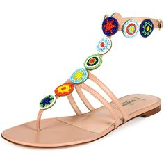 Valentino Beaded Medallion Thong Sandal (19.138.025 IDR) ❤ liked on Polyvore featuring shoes, sandals, nude, nude sandals, nude flats, leather sandals, leather strap sandals and leather thong sandals