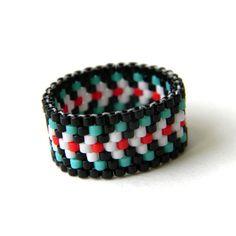 Ethnic ring Ethnic style jewelry Seed bead ring by HappyBeadwork Simple Jewelry, Boho Jewelry, Beaded Jewelry, Jewelry Rings, Fashion Jewelry, Peyote Beading, Beadwork, Band Rings For Her, Beaded Rings