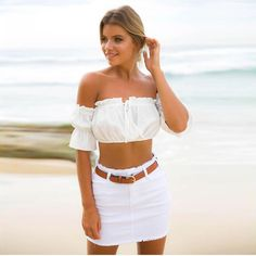 ELSVIOS 2017 Sexy Strapless Off Shoulder Tee Tops Summer Short Sleeve Beach T Shirts Women Solid Color Crop Tops Camiseta Blusa - TakoFashion - Women's Clothing & Fashion online shop Beach T Shirts, Summer Shirts, Summer Tops, Black Off Shoulder, Off Shoulder Crop Top, Cropped Tops, Short Tops, Casual Looks, Fashion Outfits