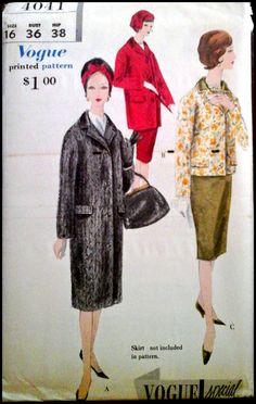 Vogue 4041 Misses' Coat Size 14 or 16 Bust by ThePatternShopp