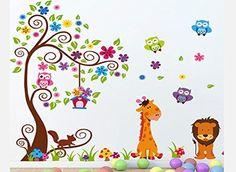 Zoo Yooo® Huge Pro Animals Owl Tiger Giraffe Squirrel Flower on Colour Tree Leaf Mushroom Grass Nursery Removable Art Wall Decals Stickers for Kids Children's Bedroo Zoo Yooo http://www.amazon.com/dp/B00IRB0VIA/ref=cm_sw_r_pi_dp_jQv4tb0XWBQHW