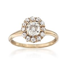 C. 1900 Vintage 1.53 ct. t.w. Diamond Ring in 14kt Yellow Gold. Size 7.5