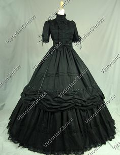 Gothic Lolita Cotton Ball Gown Dress Prom Steampunk Reenactment