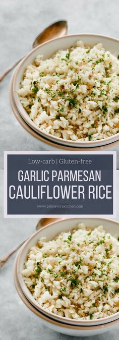 Garlic Parmesan Cauliflower Rice will go with absolutely almost everything from steak to chicken, to fish, to shrimp. It's roasted for about 20 minutes. Primavera Kitchen Recipe #glutenfree #lowcarb #healthysidedish #sidedish #cauliflower