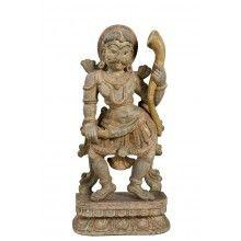 India Tänzer geschnitzte Skulptur Holz Kunstwerk Bildhauerarbeit auf Sockel