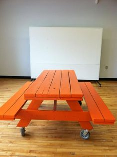 super diy conference/lunch table that can be moved for an impromptu floor hockey game for a busy indie label.  #picnictable #casters