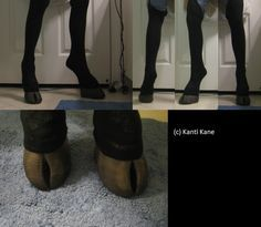 Some hooved shoes I've been working on. Thought I'd show em off. UPDATE: I am currently re-working these shoes. I recently took them to a convention to test the durability, and they were much too h...
