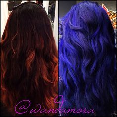 Before and after changing the red to blues and purples by Wanda Mora 856-751-2233