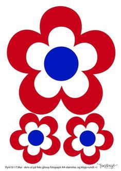 17. Mai-blomster // DIY // Gratis, både til fargelegging og ferdig – ToneroseDesign Red White Blue, Crafts For Kids, Barn, Kids Rugs, Symbols, Letters, Decor, Classroom, Kunst