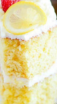 Ina's Lemon Cake ~ Rich lemon cake that tastes incredible with cream cheese frosting and raspberries! Ina's Lemon Cake ~ Rich lemon cake that tastes incredible with cream cheese frosting and raspberries! Lemon Desserts, Lemon Recipes, Köstliche Desserts, Lemon Cakes, Easy Lemon Cake, Best Lemon Cake Recipe, Homemade Lemon Cake, Lemon Cake Frosting, Lemon Sour Cream Cake