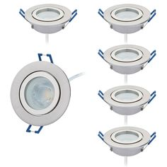 Lot de 6 LED Spot salle de bain IP44 230 V Plat seulement 25 mm de profondeur de montage, 60 ° rayonnement brossé rond avec 6 x module à LED Intensité variable Blanc chaud 3000K, 430Lm,trous 60mm: Amazon.fr: Luminaires et Eclairage Recessed Spotlights, Spots, Kitchen Appliances, Module, Amazon Fr, Montage, Bathroom, Round Brush, Flush Mount Ceiling Light