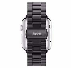 Hoco Stainless Steel Band Strap Buckle, Perfect Fit with metal clasp for Apple Watch & Sport Edition all version 38mm/42mm-Black