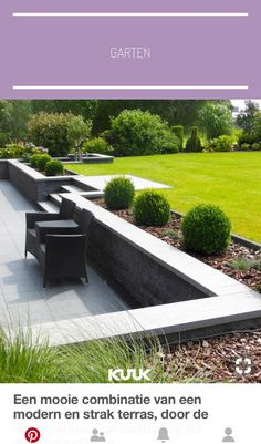 Sloped garden Tiered garden Garden steps Hillside landscaping Garden Garden wall - A beautiful combination of a modern and sleek terrace due to the anthracitecolored pavement and a natural and sp - Back Garden Design, Modern Garden Design, Backyard Garden Design, Backyard Patio, Landscape Design, Patio Design, Wall Design, Sunken Patio, Pavers Patio