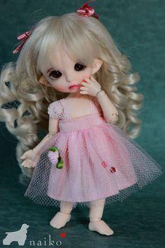 Naiko-handmade-lace pink dress for bjd FL pukifee lati yellow. $12.00, via Etsy.