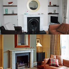 Living room/ Fireplace transformation Transformation Images, Interior Architecture, Interior Design, Living Room With Fireplace, Home Decor, Architecture Interior Design, Nest Design, Decoration Home, Home Interior Design