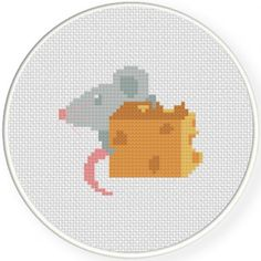Mouse And Cheese Cross Stitch Illustration