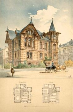 Residence in Karlsruhe. High quality vintage art reproduction by Buyenlarge. One of many rare and wonderful images broug… – architecture Victorian Architecture, Historical Architecture, Architecture Plan, Amazing Architecture, Architecture Details, Casas The Sims 4, Vintage House Plans, Old Buildings, Classic House