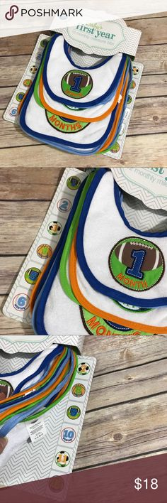 Baby's First Year 12 Monthly Milestone Bibs Sport Baby's First Year 12 Monthly Milestone Bibs Sports NEW NIP  Great gift idea!  Instead of stickers, get monthly bibs!  No more worries of the sticker coming off or being pulled off.  Just fasten the bib and away you go!  Features football, baseball, soccer and basketball.  New w/package from Neat Solutions.  #neatsolutions #monthlymilestones #bibs #sports #new #nwt #giftable #ohbaby #babyboy #shower #showergift #babyshower #basketball…