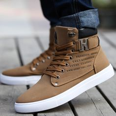 2014 New Zapatos de Hombre Mens Fashion Spring Autumn Leather Shoes Street Mens Casual Fashion High Top Shoes Canvas Sneakers - Brown --- VISIT http://stylewarez.com