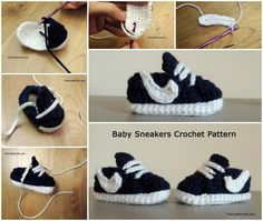 """<input class=""""jpibfi"""" type=""""hidden"""" >How adorable are these Nike style baby sneakers ! Nothing is more delightful than these baby feet warmers. Nothing makes people squee more than teeny tiny shoes! They are perfect handmade baby shower gift that everyone will love. Thanks to Chelsea for sharing the Free pattern with us , the pattern should fit most newborn…"""