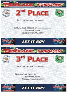 Beyblade Tournament Certificate: 2nd and 3rd place