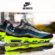 Nike Air Max 95 No Sew: Grey/Teal/Black/Volt
