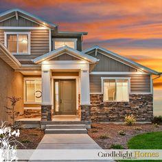 Candlelight Homes, Utah, Utah Home Builder, Stone, Pillar, Column, Windows, Hardie Board, Siding, Front entry, Front Door, Sunset, Lights, Lighting