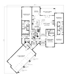 First Floor Plan of European   House Plan 82242 Family House Plans, Dream House Plans, House Floor Plans, Modern House Design, House Design Photos, Cool House Designs, Home Design, Home Interior Design, Heim