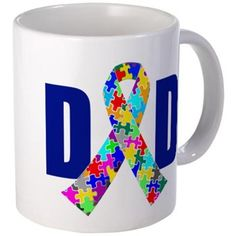 $14 Autism Dad Mug. Dad with an autism ribbon for the A filled with pretty puzzle pieces of bright red, yellow and blue colors. A father to an autistic child.