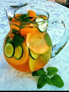 Detox Water. This recipe uses cucumber, mint leaves, tangerines, and grapefruit. It's better to let it sit overnight in the refrigerator before drinking.
