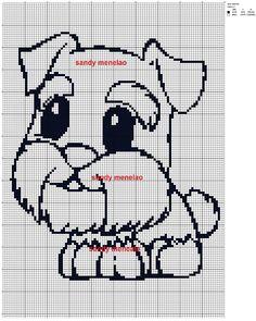 cagnolino Filet Crochet Charts, Afghan Crochet Patterns, Cross Stitch Patterns, Dog Chart, Raining Cats And Dogs, Dog Pattern, Cartoon Dog, I Love Dogs, Pixel Art