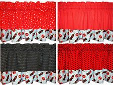 New LINED red VALANCE black DOTS blue bubbles Coca Cola bottle sign  ~40