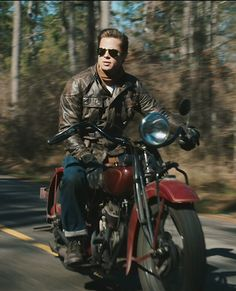 Brad Pitt on a motorcycle; Benjamin Button