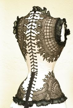 Corset black lace over white/ivory or colour
