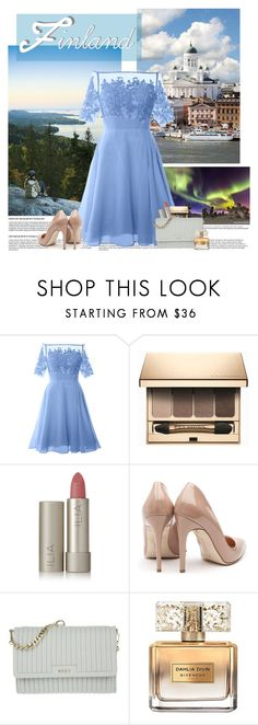 """""""Happy Independence Day Finland!!"""" by killerqueen188 ❤ liked on Polyvore featuring Levi's, Clarins, Ilia, Rupert Sanderson, DKNY and Givenchy"""